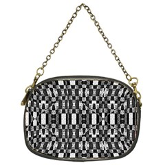 Black and White Geometric Tribal Pattern Chain Purses (One Side)