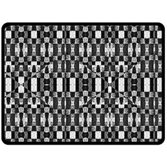 Black and White Geometric Tribal Pattern Fleece Blanket (Large)