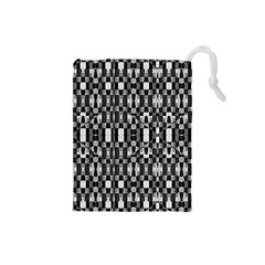 Black And White Geometric Tribal Pattern Drawstring Pouches (small)