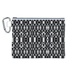 Black and White Geometric Tribal Pattern Canvas Cosmetic Bag (L)