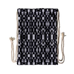 Black and White Geometric Tribal Pattern Drawstring Bag (Small)