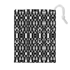 Black and White Geometric Tribal Pattern Drawstring Pouches (Extra Large)