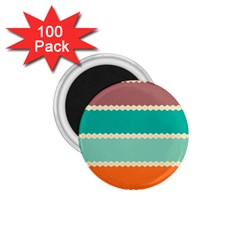 Rhombus and retro colors stripes pattern 1.75  Magnet (100 pack)