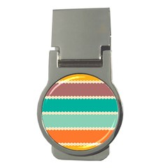 Rhombus and retro colors stripes pattern Money Clip (Round)