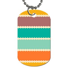 Rhombus and retro colors stripes pattern Dog Tag (One Side)