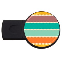 Rhombus and retro colors stripes pattern USB Flash Drive Round (4 GB)