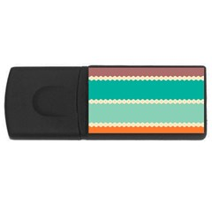 Rhombus and retro colors stripes pattern USB Flash Drive Rectangular (4 GB)