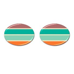 Rhombus and retro colors stripes pattern Cufflinks (Oval)