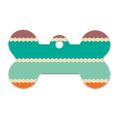 Rhombus and retro colors stripes pattern Dog Tag Bone (Two Sides)