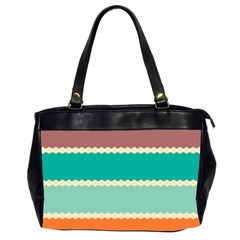 Rhombus and retro colors stripes pattern Oversize Office Handbag (2 Sides)