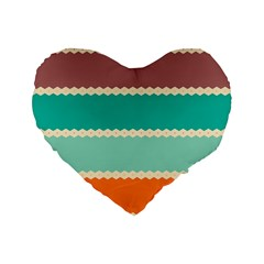 Rhombus and retro colors stripes pattern Standard 16  Premium Heart Shape Cushion