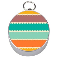 Rhombus And Retro Colors Stripes Pattern Silver Compass
