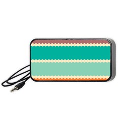 Rhombus and retro colors stripes pattern Portable Speaker