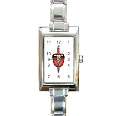 Tongue Cut By Kitchen Knife Photo Collage Rectangle Italian Charm Watches