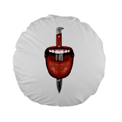 Tongue Cut By Kitchen Knife Photo Collage Standard 15  Premium Round Cushions