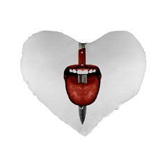 Tongue Cut By Kitchen Knife Photo Collage Standard 16  Premium Heart Shape Cushions