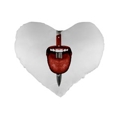 Tongue Cut By Kitchen Knife Photo Collage Standard 16  Premium Flano Heart Shape Cushions