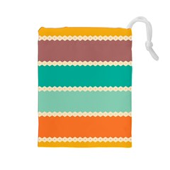 Rhombus And Retro Colors Stripes Pattern Drawstring Pouch