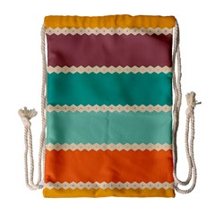 Rhombus and retro colors stripes pattern Large Drawstring Bag