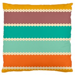 Rhombus And Retro Colors Stripes Pattern 	large Flano Cushion Case (two Sides)