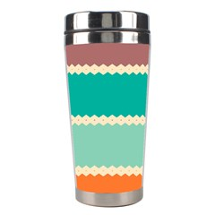 Rhombus And Retro Colors Stripes Pattern Stainless Steel Travel Tumbler