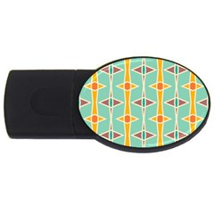 Rhombus pattern in retro colors 			USB Flash Drive Oval (1 GB)