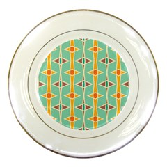 Rhombus pattern in retro colors 			Porcelain Plate