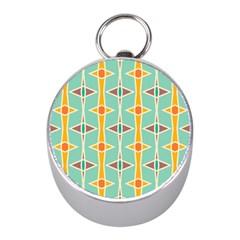 Rhombus Pattern In Retro Colors silver Compass (mini)
