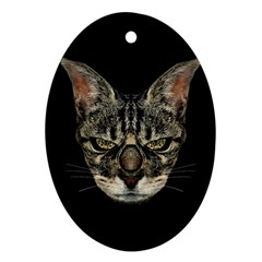 Angry Cyborg Cat Ornament (Oval)