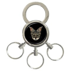 Angry Cyborg Cat 3-Ring Key Chains