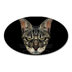 Angry Cyborg Cat Oval Magnet