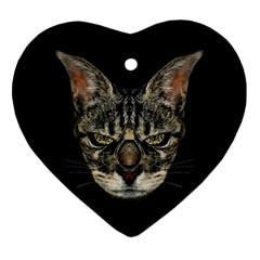 Angry Cyborg Cat Heart Ornament (2 Sides)