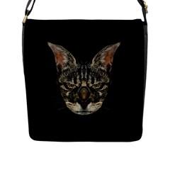 Angry Cyborg Cat Flap Messenger Bag (L)