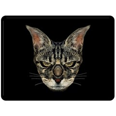 Angry Cyborg Cat Double Sided Fleece Blanket (large)