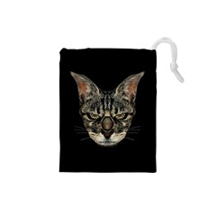 Angry Cyborg Cat Drawstring Pouches (Small)
