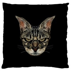 Angry Cyborg Cat Large Flano Cushion Cases (Two Sides)