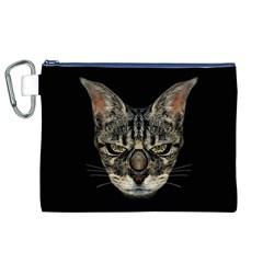 Angry Cyborg Cat Canvas Cosmetic Bag (XL)