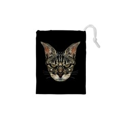 Angry Cyborg Cat Drawstring Pouches (XS)
