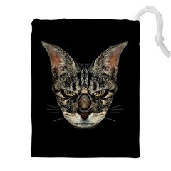 Angry Cyborg Cat Drawstring Pouches (xxl)