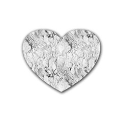 White Marble Rubber Coaster (Heart)