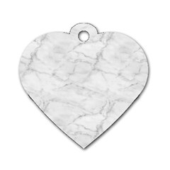 White Marble 2 Dog Tag Heart (Two Sides)