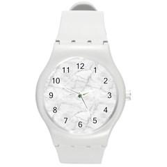 White Marble 2 Round Plastic Sport Watch (M)