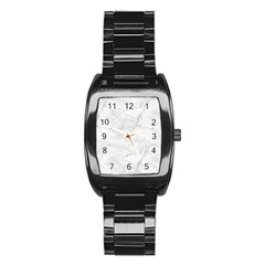 White Marble 2 Stainless Steel Barrel Watch