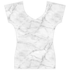 White Marble 2 Women s V-Neck Cap Sleeve Top