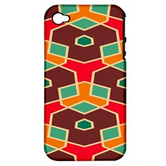 Distorted Shapes In Retro Colors			apple Iphone 4/4s Hardshell Case (pc+silicone)