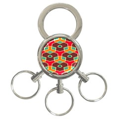 Distorted shapes in retro colors3-Ring Key Chain