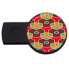 Distorted shapes in retro colors			USB Flash Drive Round (1 GB)