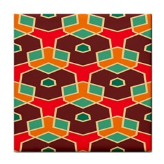 Distorted shapes in retro colorsFace Towel