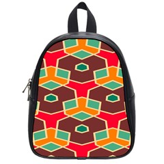 Distorted shapes in retro colors			School Bag (Small)