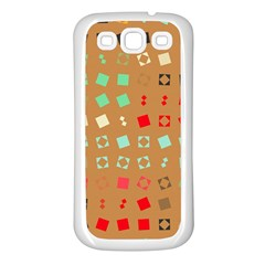 Squares on a brown backgroundSamsung Galaxy S3 Back Case (White)